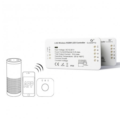 GLEDOPTO C - 007 ZIGBEE RGBW LED Strip Controller DC 12 - 24V Compatible with Amazon Echo plus / Osram Lightify