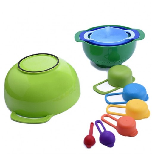 Multi Purpose Colour Measuring Cup Colander Sieve Mixing Bowl Set
