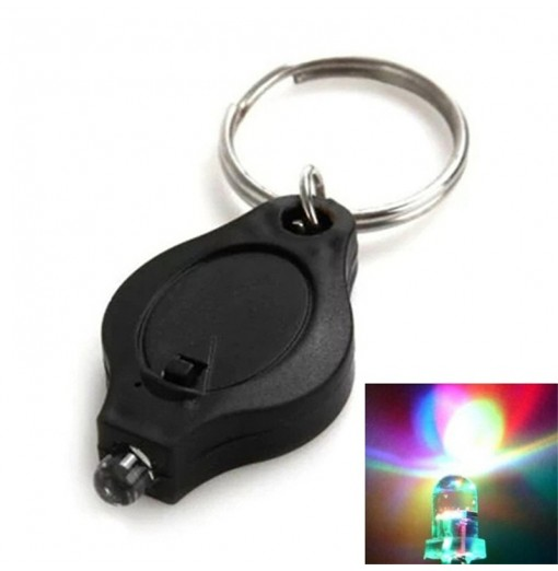 Mini LED Flash Light Keychain Ring Torch Super Bright Colorful Light