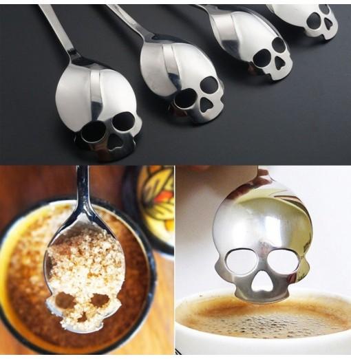 1pcs Skull Head Kitchen Utensils Stainless Steel Spoon Sugar Spoon Cutlery