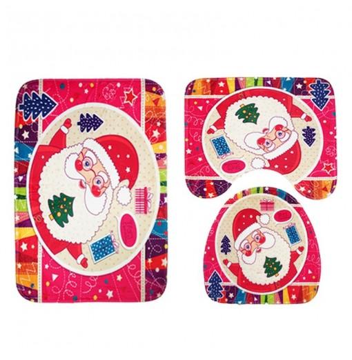 3pcs Toilet Mat Bath Mat Santa Claus Pattern