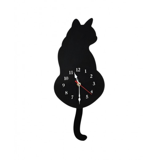 Cute Cat Wall Clock Kit with Real Simulation Swinging Tail
