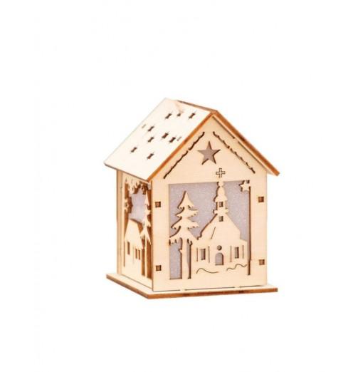 DIY LED Christmas Tree House Style Fairy Lights Hanging Decor Wood House