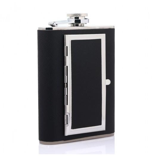 6oz Portable Dual-purpose Stainless Steel Flagon Cigarette Case