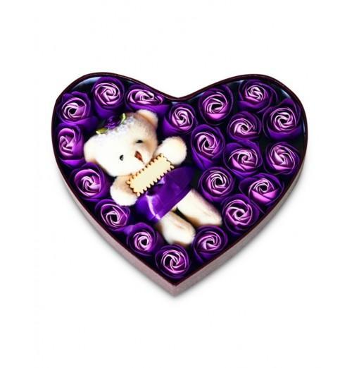 Heart box Bear Rose Flower Soap Bouquet Valentines Gift