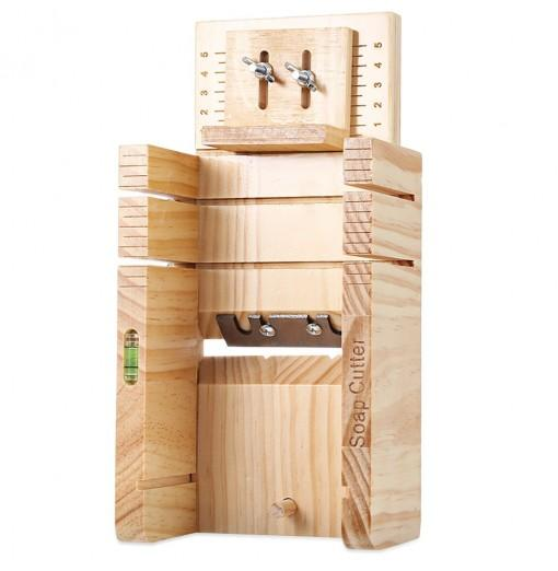 Household Wooden Soap Cutter Box Pine Material Balancing Apparatus Accurate Adjustable Front Board