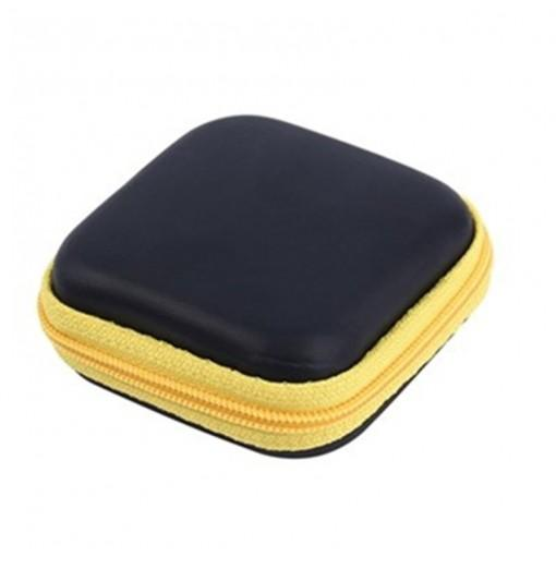 Hot Mini Zipper Hard Headphone Case PU Earphone Storage Bag Protective USB Cable Organizer Portable Earbuds Pouch Box