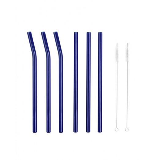 6pcs Heat Resistant Environmental Protection Glass Straw