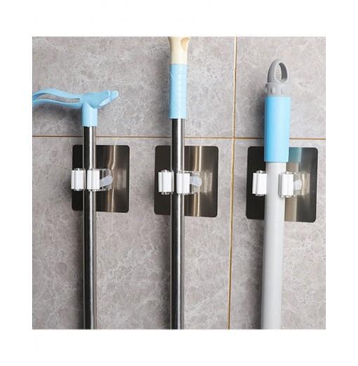 Self-adhesive Broom Mop Holder Home Space Saving Wall Suction Clip Hook 2PCS