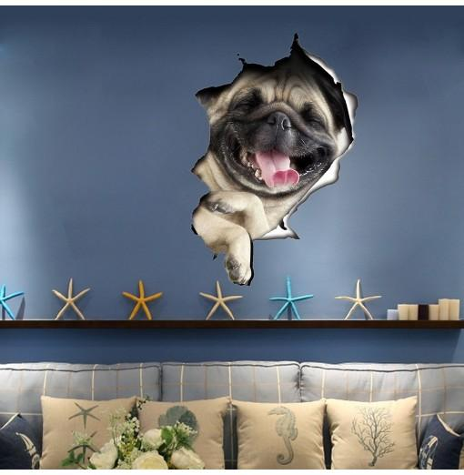 3D Wall Sticker Dog Personality Creative Removable Wall Stickers