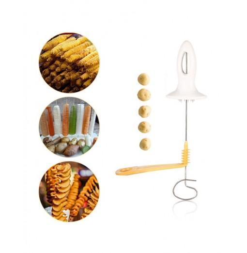 Manual Potato Chips Spiral Slicer Tower Making Twist Shredder Kitchen Accessories