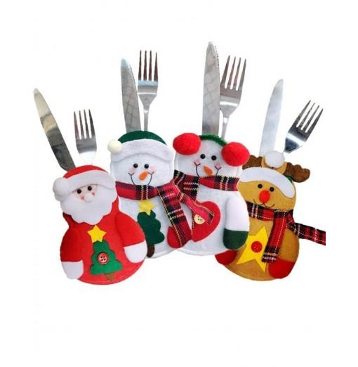 4PCS Christmas Cutlery Tableware Spoon Knife Bag Fork Decoration