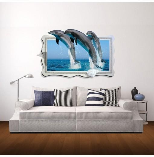3D Wall Sticker Dolphin Personality Creative Decoration