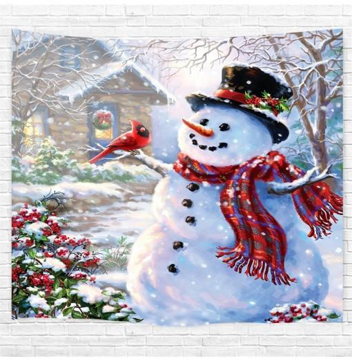 Red Bird Snowman Printing Home Wall Hanging Tapestry for Decoration