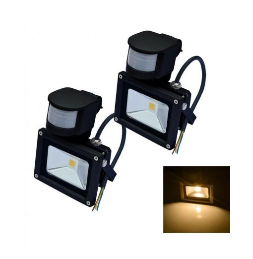 JIAWEN 2PCS 10W LED Floodlight PIR Motion Sensor Outdoor Black 85V-265V