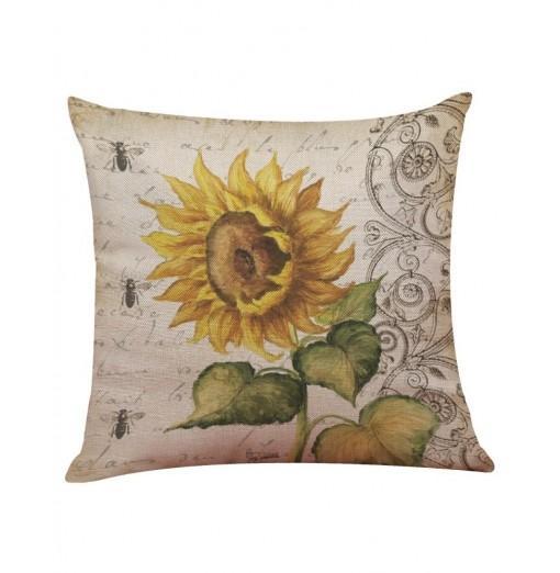 Sunflower Cushion Pillow Flax Soft Mordern Europe America Style