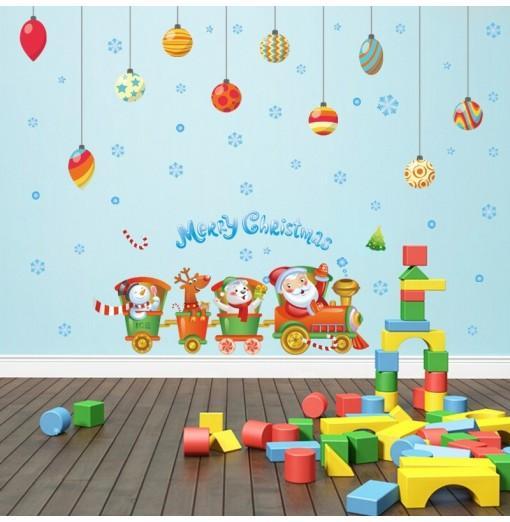 Creative Santa Claus Train Christmas Decoration Window Wall Stickers