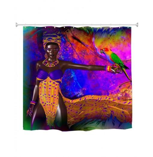 Parrot African Woman Water-Proof Polyester 3D Printing Bathroom Shower Curtain