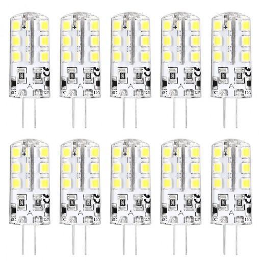 Lightme 10PCS DC 12V 2W G4 SMD 2835 LED Dimmable Bulb with 24 LEDs